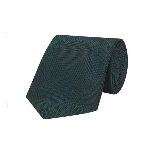 Magadar Large Check Green Silk Tie