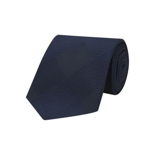 Magadar Large Check Navy Blue Silk Tie