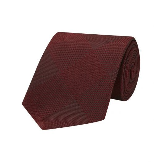 Magadar Large Check Red Silk Tie