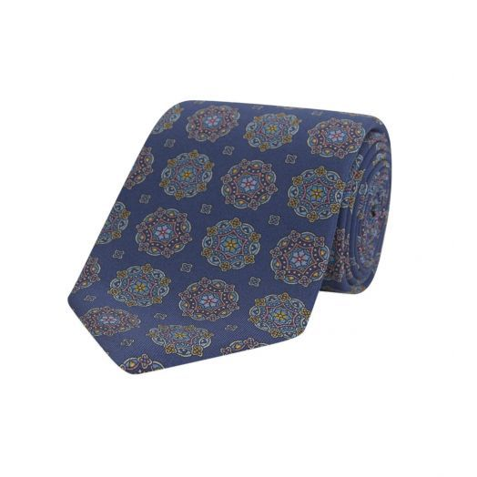 Kaleidoscope Navy & Blue Printed Silk Tie