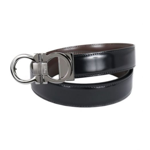 BLACK/BROWN ADJUSTABLE REVERSIBLE DOUBLE GANCINI BELT