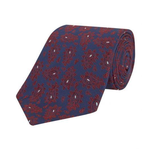 Paisley Navy & Red Silk Tie