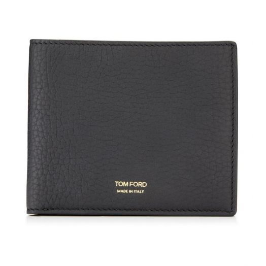 T Line Grained Leather Bifold Wallet