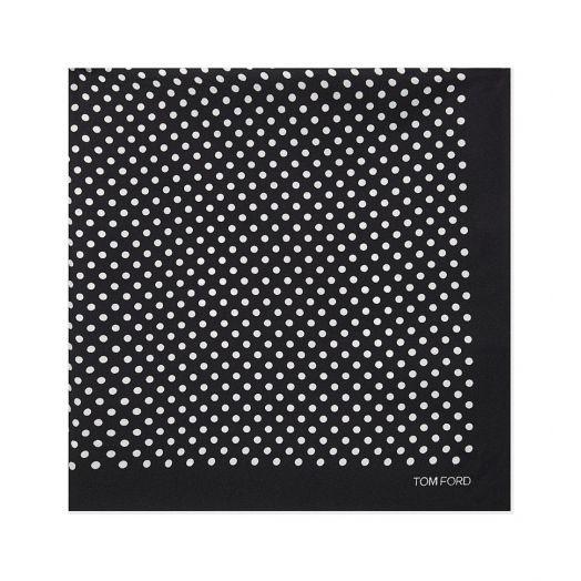Black Polka Dot Silk Pocket Square