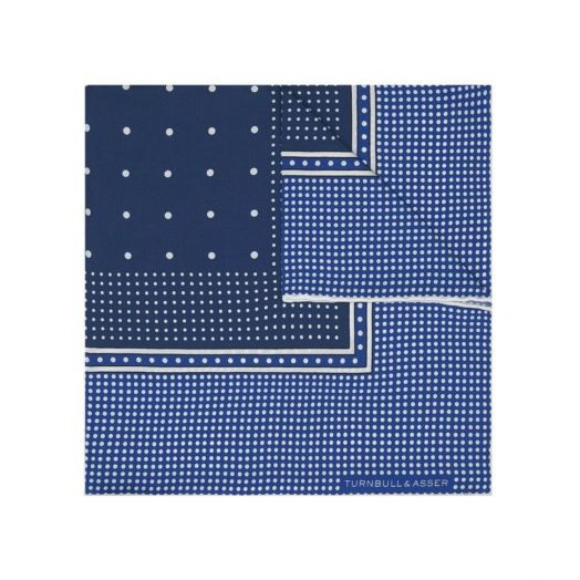 NAVY SPOTTED POCKET SQUARE
