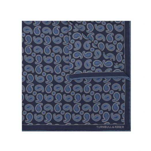 Paisley Print Twill Navy Blue Pocket Square