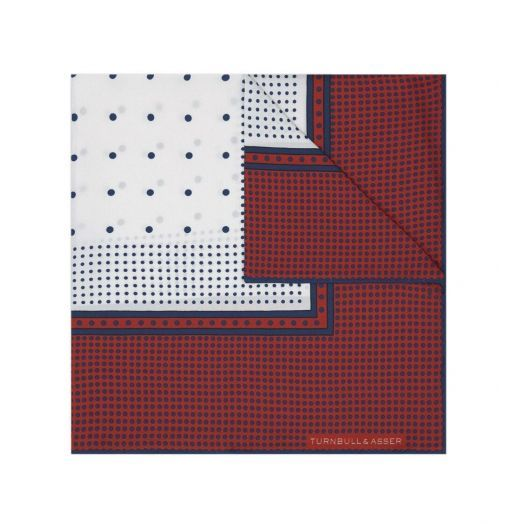 RED, WHITE AND NAVY SPOTTED POCKET SQUARE
