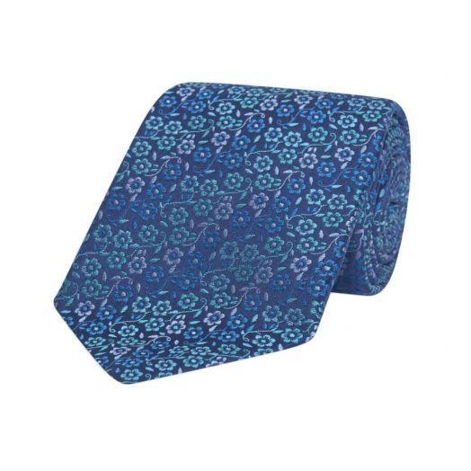 Stripe Floral Multi-Blue Hand Sewn Silk Tie