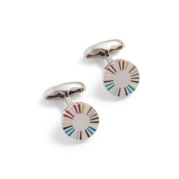 Multi-Coloured Stripe Edge Cufflinks