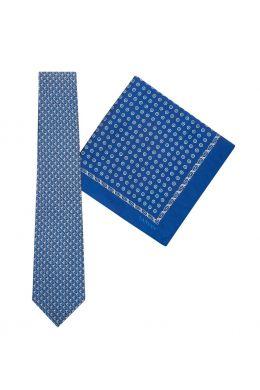 Tie & Pocket Square Geometric Circles Dot Pattern Blue/Grey Gift Set