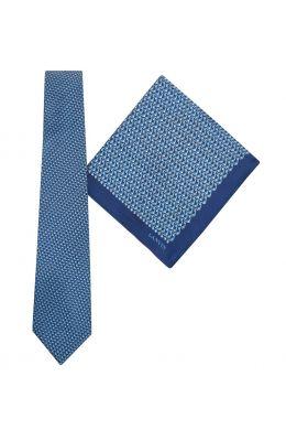 Tie & Pocket Square Geometric Squares Pattern Blue/Grey Gift Set