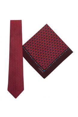 Tie & Pocket Square Geometric Pentagon Pattern Red Gift Set