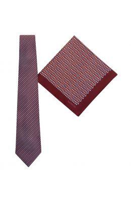 Tie & Pocket Square Geometric Squares Pattern Burgundy Gift Set