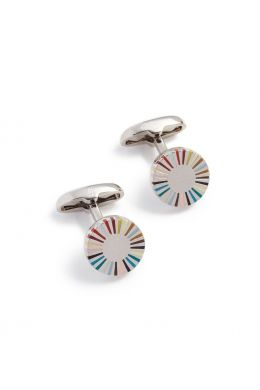Multi-Coloured Stripe Edge Cufflinks